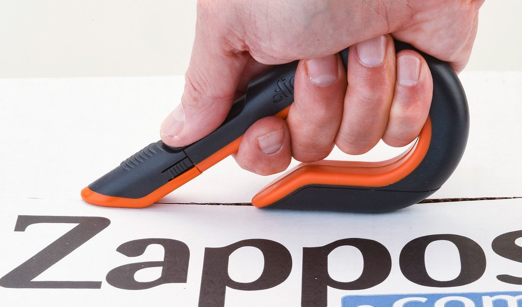 Loss prevention tips include choosing safer cutting tools like the Slice Manual Box Cutter shown here.