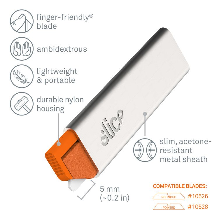 The Slice 10585 Manual Carton Cutter and a list of its features