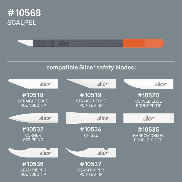 The Slice® 10568 scalpel and all of the safety blades it is compatible with; a great choice when concerned about how to use a scalpel safely